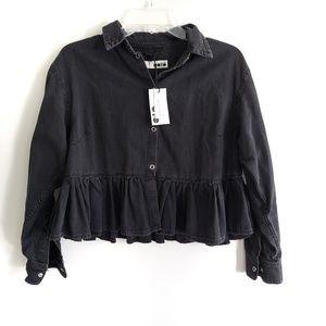 Topshop / Moto Denim Shirt Jacket Top NWT